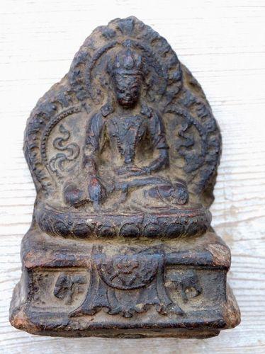 Antique, Rare Tsatsa Clay Image of Dhyani-buddha Akshobya