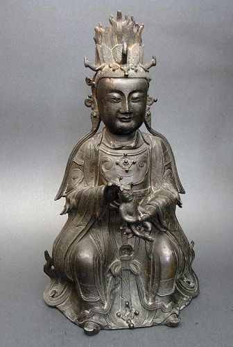 Large Ming Bronze Songzi Niangniang 'The Lady who Brings Children'