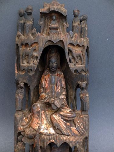 Chinese Antique Wood Guanyin in her Grotto on Putuo Island. H 44 cm