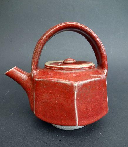 Ueda Tsuneji, Kawai Kanjiro's Student, Hexagonal Shape Teapot