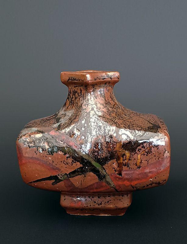 Amazing Stoneware Oblong Tsubo by Kawai Buichi