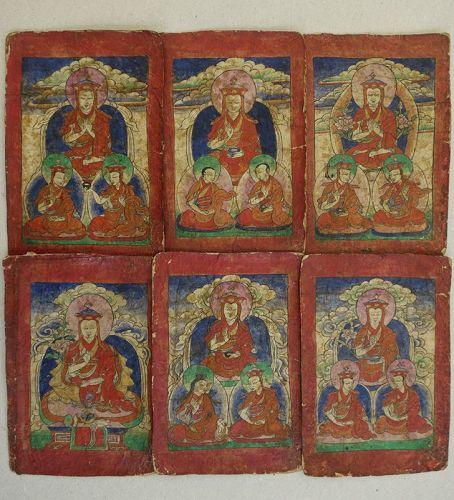 A collection of 6  Bon Teachers Initiation Cards, Tzakli. Tibet