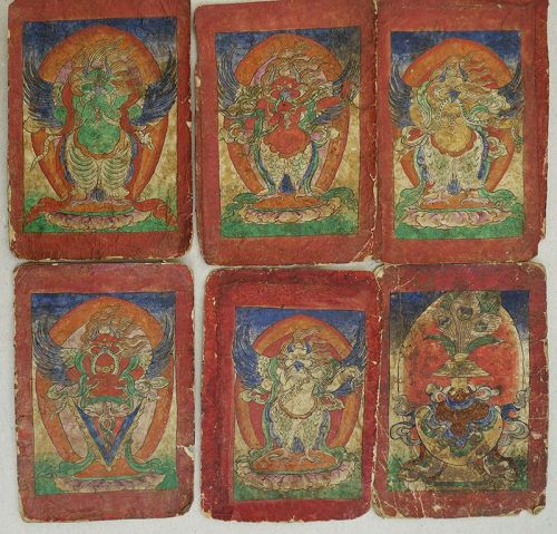 Collection of 6 Bon Protectors Initiation Cards, Tzakli