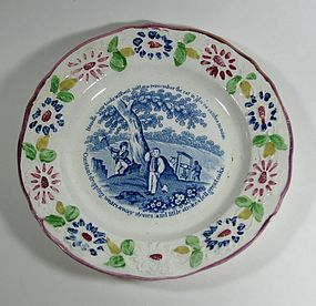 Child's Pearlware Franklin Motto Plate, c. 1825