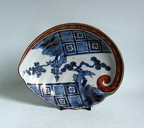 Ko Imari Aka-e Kinrade Abalone dish c.1730-50 No 1