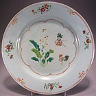 Chinese Famille Rose Rooster and Cabbage Plate 18C