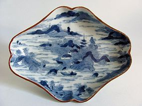 Ko Imari Katagami-zuri Dish c.1700