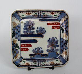 Fine Ko Imari Pines and Mist Pattern Square Dish c.1750