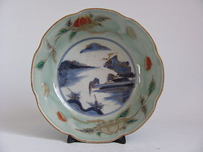 Ko Imari Landscape and Chestnut pattern Celadon Bowl c.1760 No 1