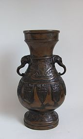 Bronze Baluster Hu Shaped Vase 19C