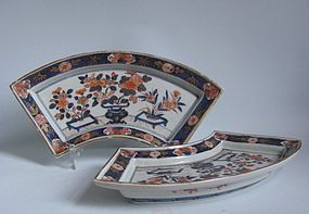 Pair of Large Imari Fan Shaped Dishes c.1700