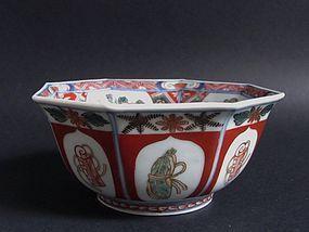 Ko Imari Takarazukushi mon Octagonal Bowl c.1710