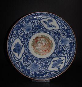 Ko Imari Ryumon Somenishikide Dish c.1740