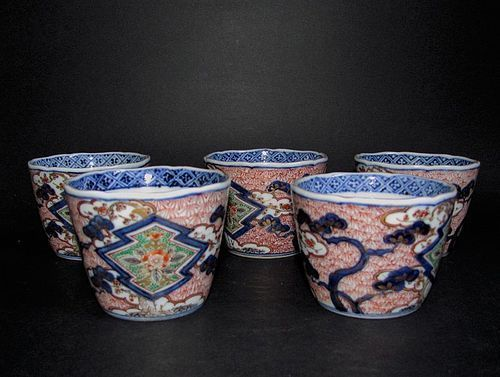 Set of Five Three Friends of Winter Pattern Imari Cups Meji