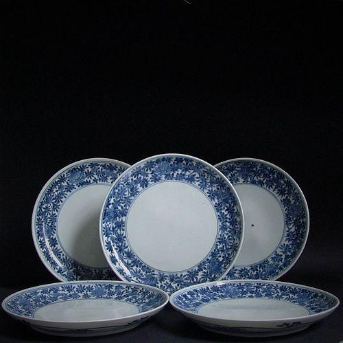 A Set of Five Ko Imari Lotus Ring plates 17th Century