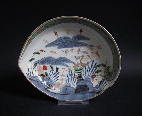 Ko Imari Shellfish and Seascape Abalone form Dish c.1740
