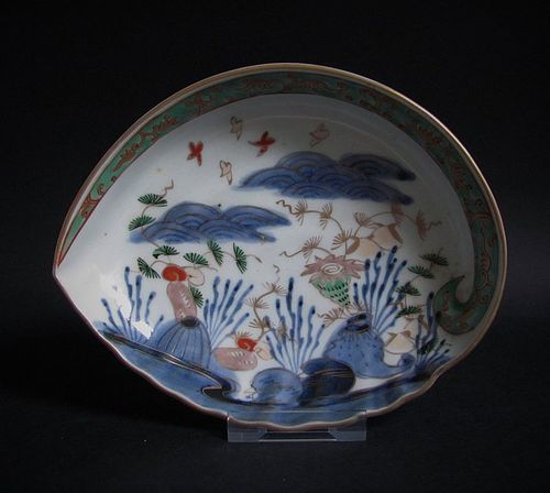 Ko Imari Shellfish and Seascape Abalone form Dish c.1740