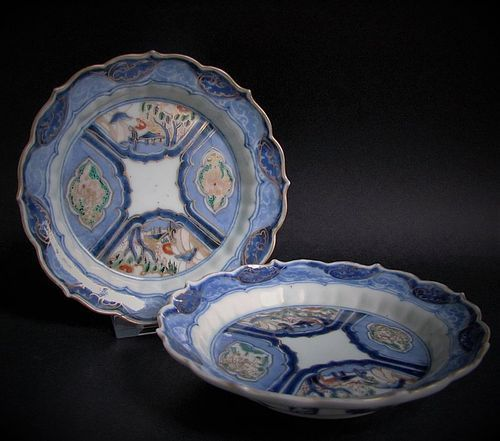 Pair of Fine Ko Imari Shishi and Scholars Dishes c.1740
