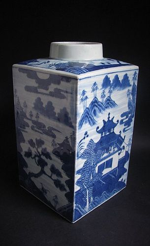 Large Chinese Canton Square Section Canister 19C No 1