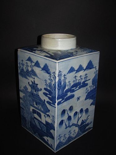 Large Chinese Canton Square Section Canister 19C No 2