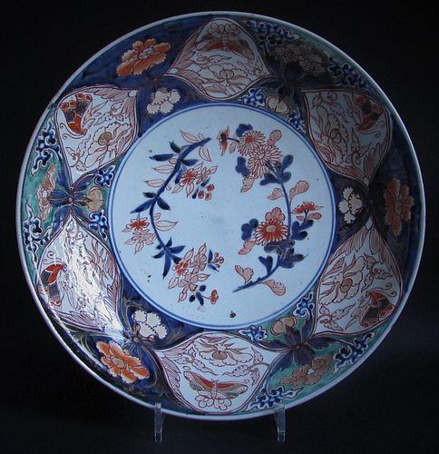 Imari Export Butterflies and Peonies Large Shallow Dish c.1710-30