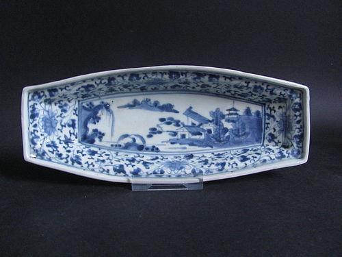 Ko Imari Nagazara Sansui-zu with Lotus and Hagi-karakusa ground c.1700