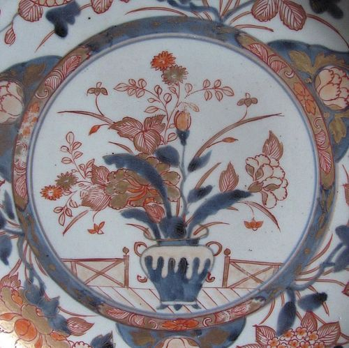 Large Export Imari Hanakago-de Dish Early 18th Century