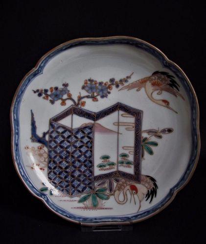 Ko Imari Byobu-zu Square Dish 18th Century