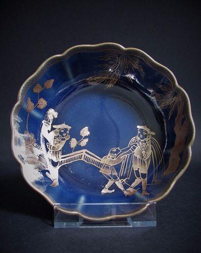 Rare Ko Imari Namban-zu European Subject Gilt and Blue Glazed Dish 18C