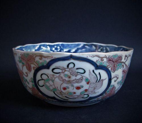 Ko Imari Shishi and Grape arabesque Bowl c.1750-80