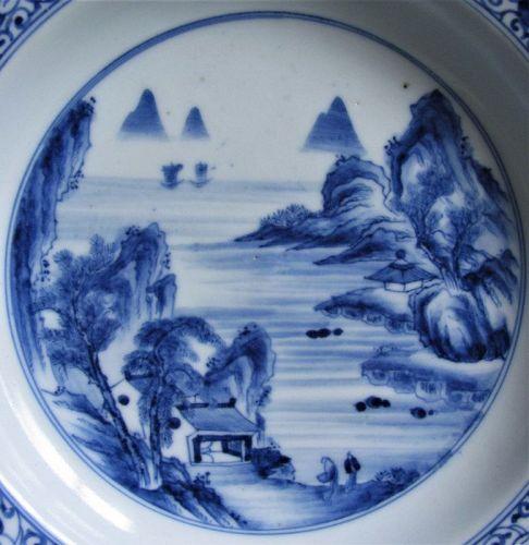 """""""Kameyama"""" Nanga style Sansui Landscape Barbed Dish late Edo"""