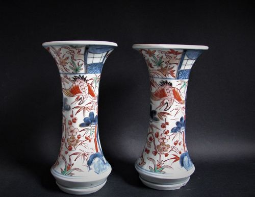 Pair Imari Export Cranes and Three Friends of Winter Beaker Vases 18C