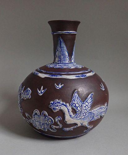 A Fine Large Yixing Enamelled Pheonix Vase 19C Qing