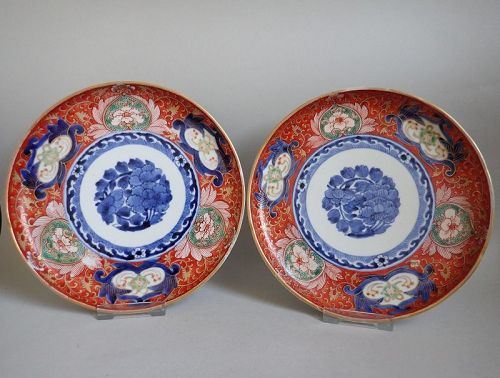 Pair of Kenjo Imari Peony-mon and Wave Pattern Dishes c.1730-50