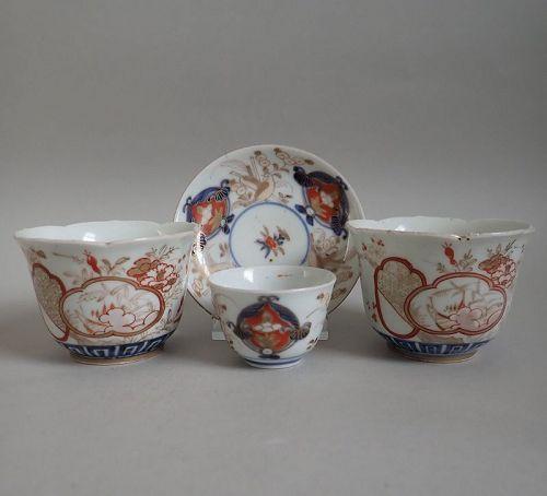 Japanese Gold Imari Tea-bowl, Beakers and Saucer c.1730-50