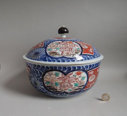 Large Imari Export Chinese Lions and Peonies Covered Bowl Early 18C