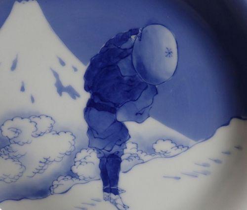 Hirado Hokusai Traveller and Mount Fuji Dish Late Edo