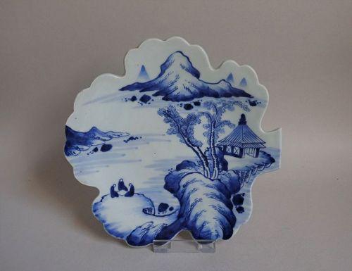 Kameyama Sansui-zu Oak-leaf Shaped Dish Edo 19C