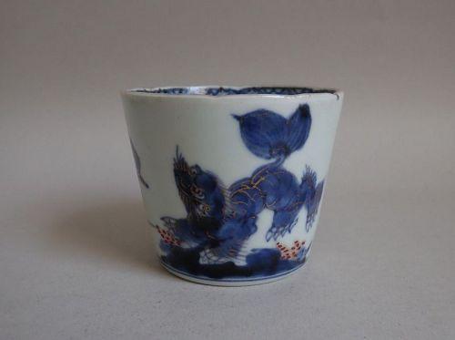 Fine Ko Imari Shishi & Peony Cup c.1770