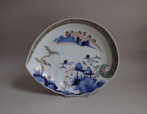 Ko Imari Sansui-zu Awabigata Dish c.1740-70