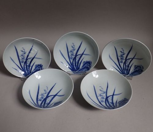 Set of Five Nabeshima Rock and Orchid Small Dishes Late Edo