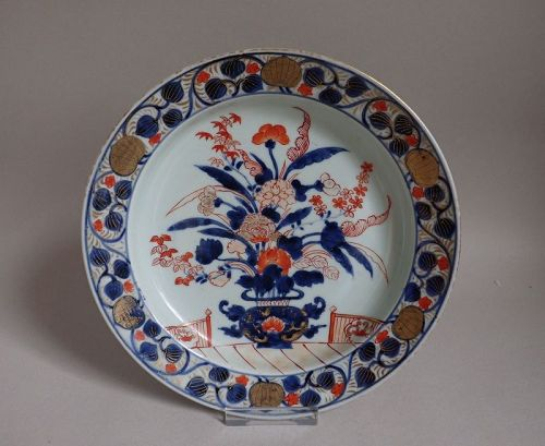 Imari Export Hanakago-de and Aoi Arabesque border Dish Early 18C