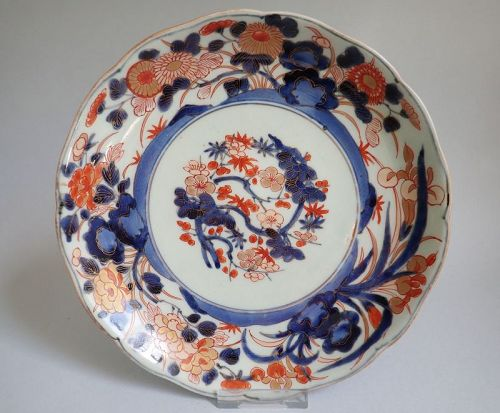 Imari Export Shochikubai-mon, Chrysanthemums, Peonies and Irises Dish