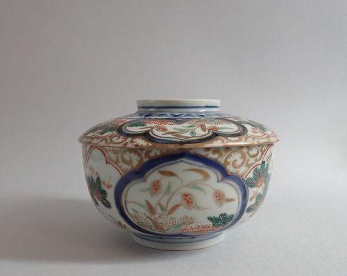 Ko Imari Kinsai Banded Hedge and Millet Covered Bowl  c.1750 No 1