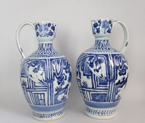 Pair Large Arita Ewers with Wanli Style Reserves c1670