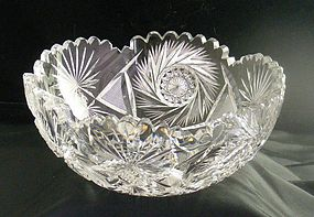 American Brilliant Cut Whirling Hobstar Bowl ~Exquisite