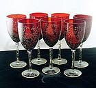 Ruby Red Fluer-De-Lis Enamel Art Glass Wine Goblets