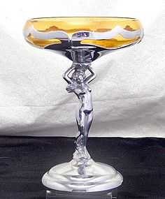 Cambridge Farberware Statuesque Nude Amber Compote