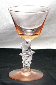 Morgantown Knickerbocker Top Hat Pink Wine Stem