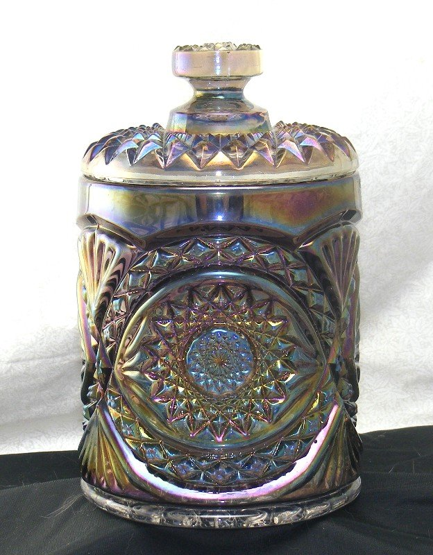 Imperial Carnival Glass Hobstar Cracker or Cookie Jar